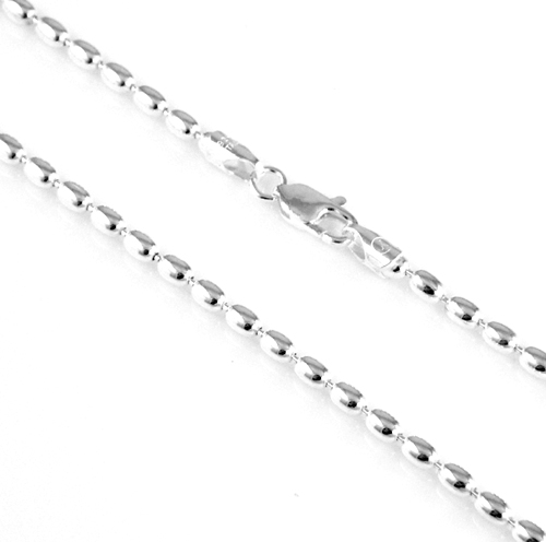 Sterling Silver 3mm Oval Bead Chain